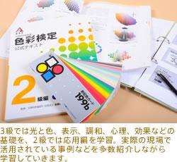 3級では光と色、表示、調和、心理、効果などの基礎を、2級では応用編を学習。実際の現場で活用されている事例などを多数紹介しながら学習していきます。